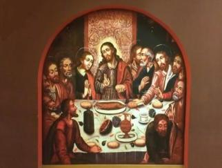 """The original piece (by Marcos Zapata) is located in Cuzco's Cathedral. Notice the """"cuy"""" at the center of the table. The """"cuy"""" is an Andean dish."""