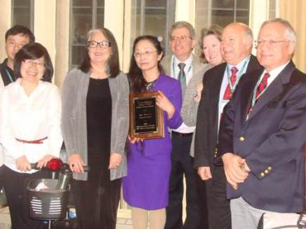 Several EGSG members congratulate Wei Li.
