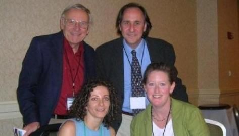 The winners of the student paper competition and the dissertation proposal :Alan Marcus (top right) and Tatiana Matejskova (bottom left). Also in the photo Jim Allen and Heather Smith.